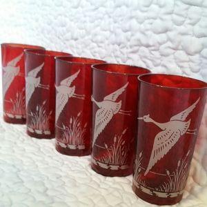 Vintage 5pc Red Glass Crane Glasses Tumblers Mid C